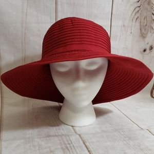 San Diego Hat CO. Red Brim Hat 100% Poly SZ OS